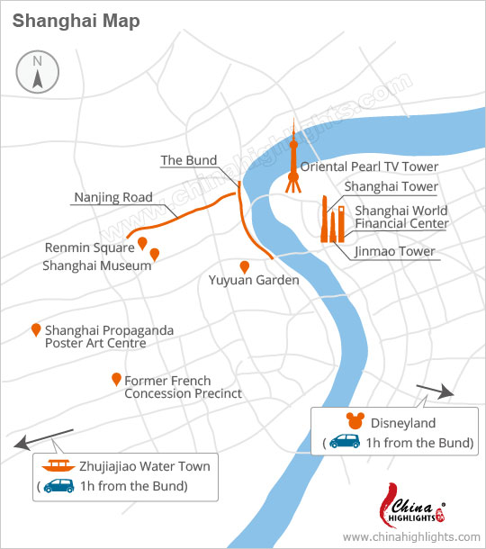 Shanghai attraction map