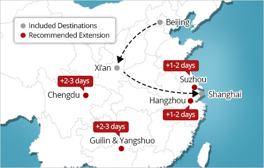 China golden triangle tour extensions map