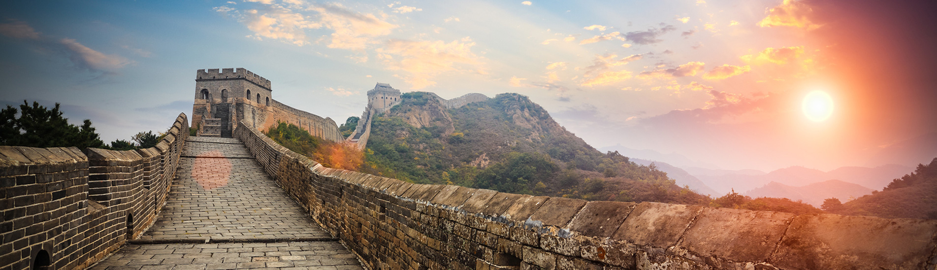 the sunrise at the Mutianyu Great Wall