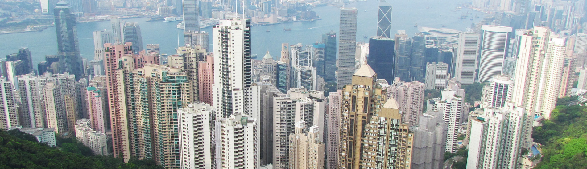 the skyscrapers in Hong Kong