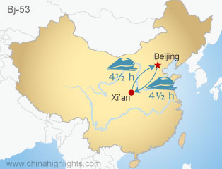 Map of Beijing-Xi'an-Beijing bullet train