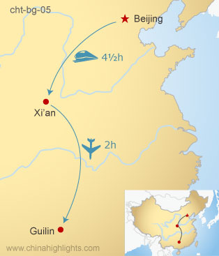 Map of Beijing–Xi'an–Guilin