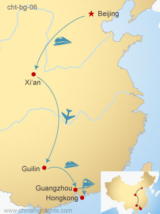 Map of Beijing–Xi'an–Guilin-Guangzhou-Hong Kong