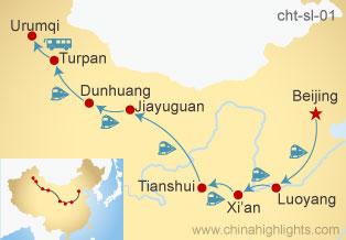Map of Beijing–Luoyang–Xi'an-Tianshui-Jiayuguan-Dunhuang-Turpan-Urumqi-Shanghai