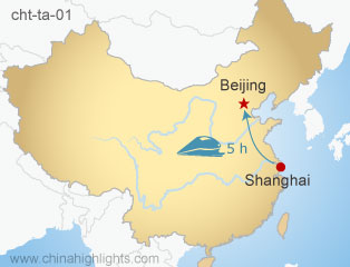 Map of Shanghai and Beijing