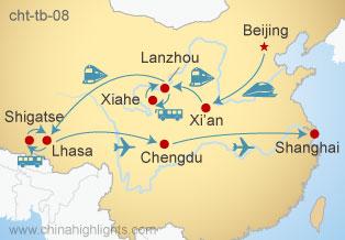 Map of Beijing–Xi'an–Lanzhou-Lhasa-Chengdu-Shanghai