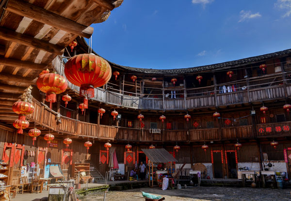 tulou with the red lanterns