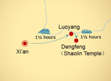 High-speed train between Xi'an and Dengfeng map