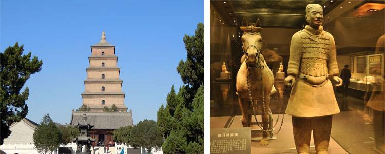 the Big Goose Pagoda and the Terracotta Warrior