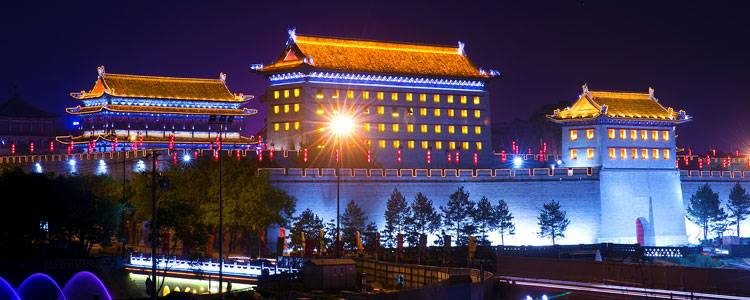 The night view of Xi'an ancient City Wall