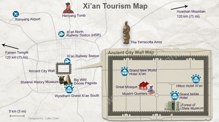 Xi'an tours map