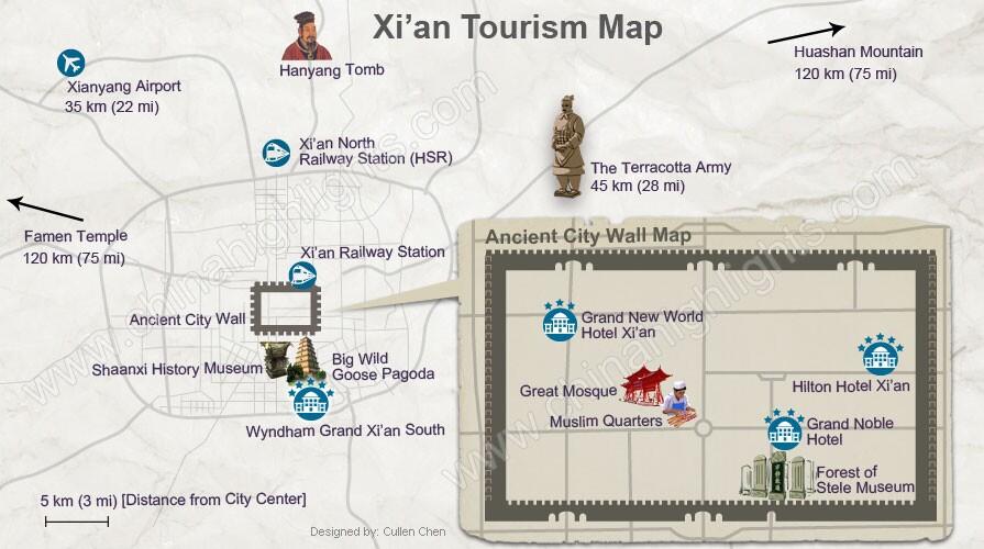 Xi'an tours map