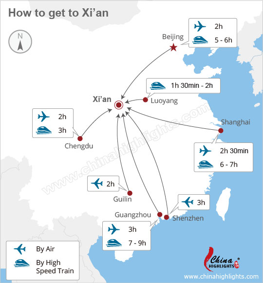 Map Guide around Xian