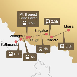 Map of Lhasa to Kathmandu