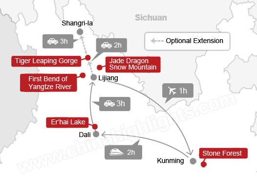 6-Day Kunming, Dali, and Lijiang Tour map