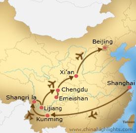 Map of Shanghai-Kungming-Shangrila-Lijiang-Chengdu-Xian-Beijing