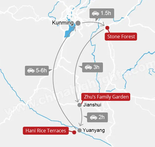 6-Day Jianshui and Yuanyang Tour map