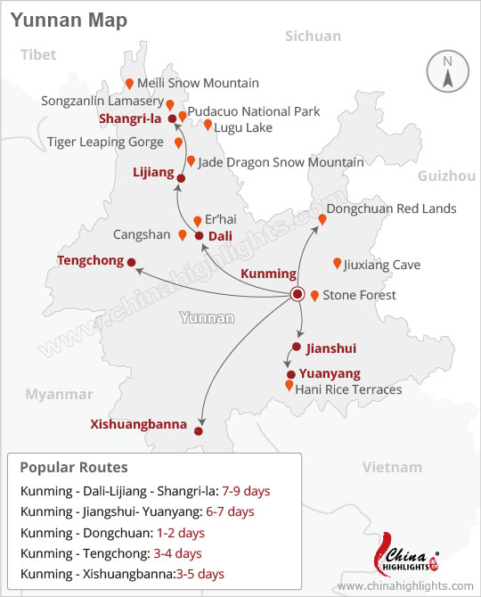 Attactions' transport map of Yunnan