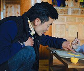 learn with a Tibetan Thangka artist