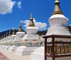 White Tibetan pagodas