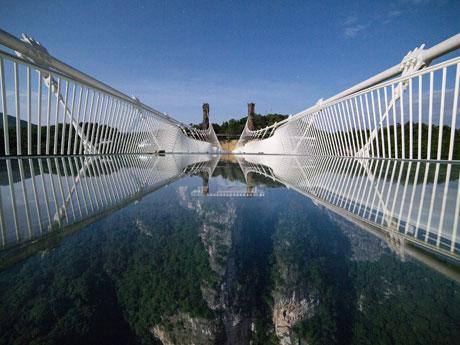 the Glass Bridge at Zhangjiajie Grand Canyon