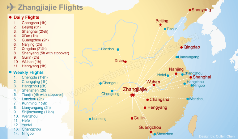 Map of Zhangjiajie Flights