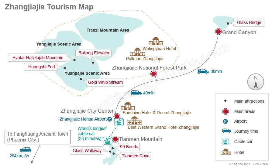 Map of Zhangjiajie Flights