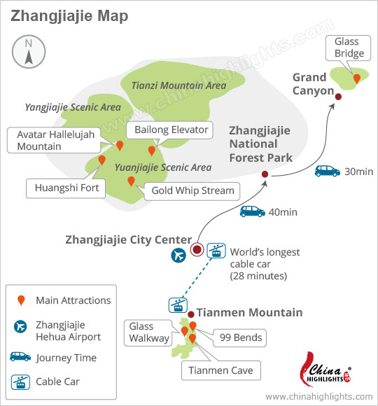 Zhangjiajie National Forest Park Day Tour Map