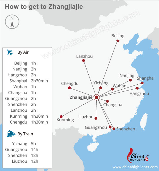 Zhangjiajie transport from other China cities map