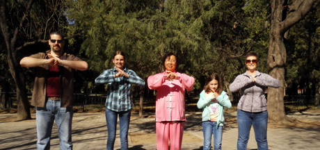 Customer's picture of learning Taiji in the Temple of Heaven Park