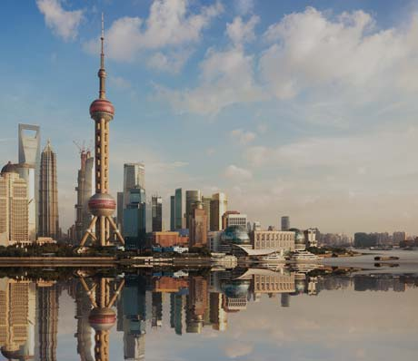 The skylines in Shanghai