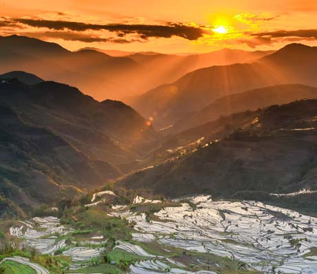The Yuanyang Terraced Fields, the sunset of the Terraced Fields