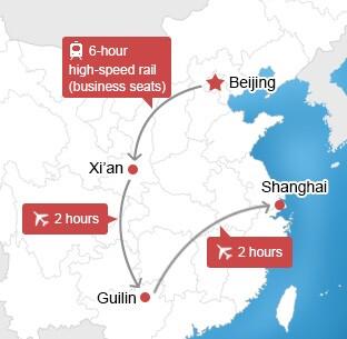 Map of Beijing-Xian-Guilin-Shanghai