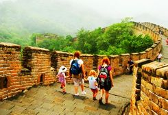 Family tour on the Great Wall