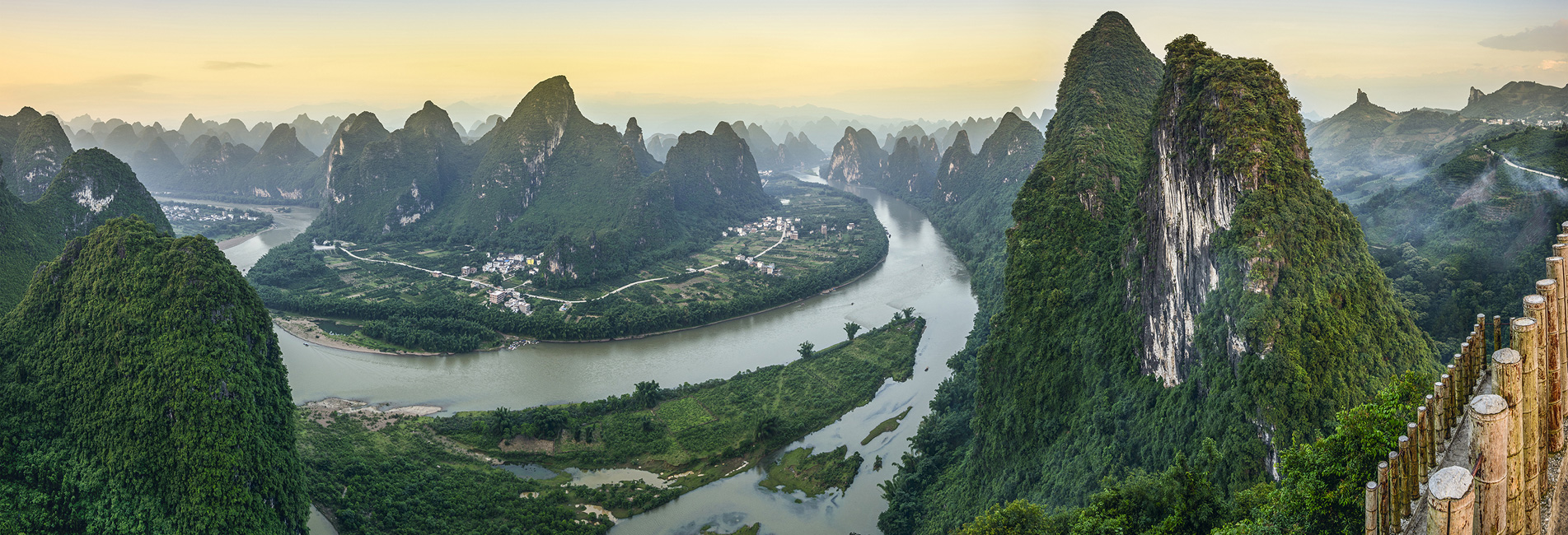 the karst landscape in Guilin, the Li River and mountains