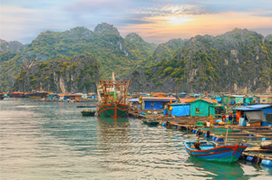 Visit a floating village of Halong Bay