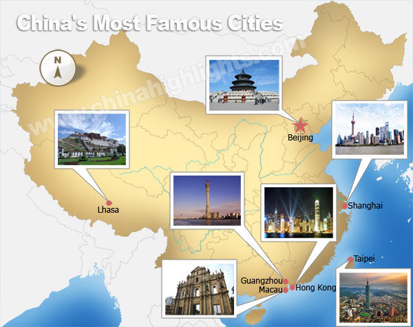 China most famous cities map
