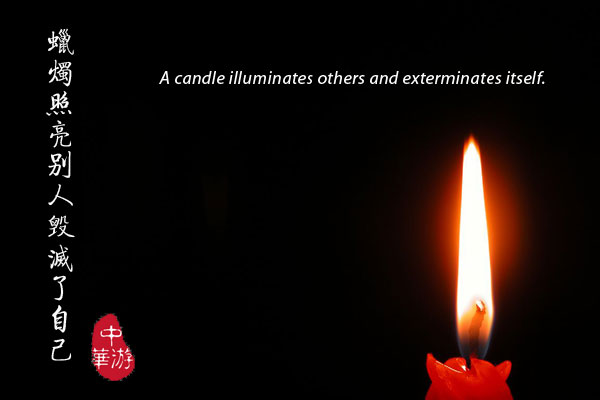 A candle illuminates others and exterminates itself.