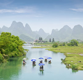 China March destination, the Li River in Guilin