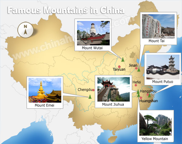 China most famous mountains map