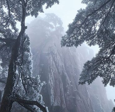 The snow scenery at the Yellow Mountains