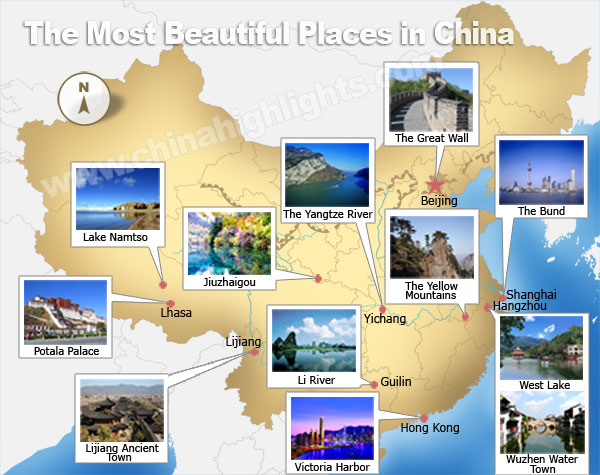 Most beautiful places in China map