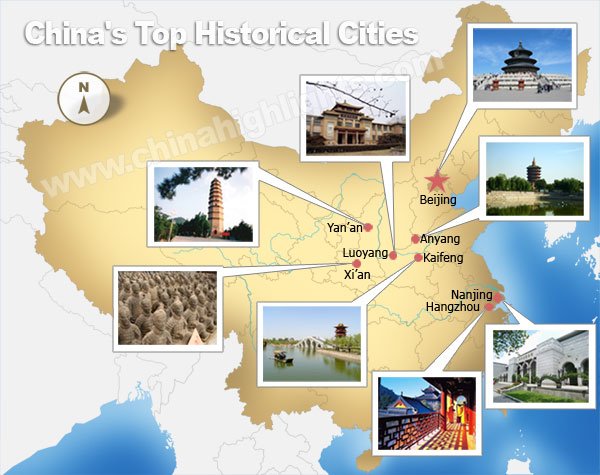 China top historical cities map
