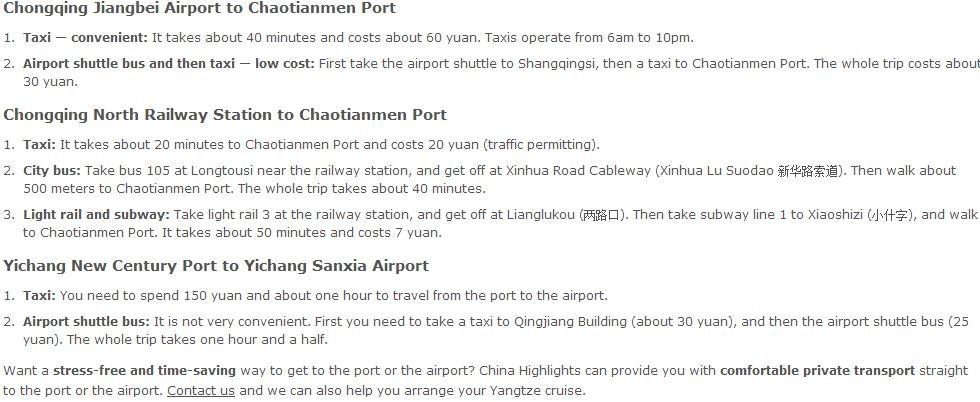 Yangtze cruise transport, airport and railway station to the port
