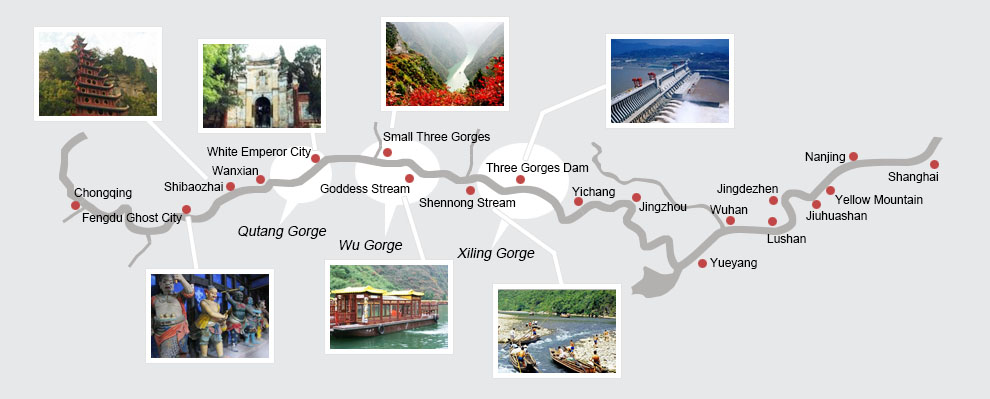 Yangtze River cruise map