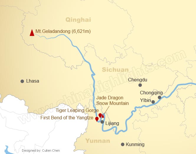 Map of the Upper Reaches of the Yangtze