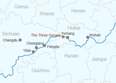 The map of the middle reaches of the Yangtze River