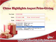China Highlights August Lucky Draw